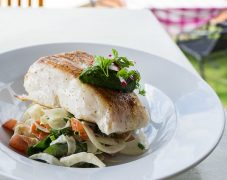 Gluten-Free Cod with Fennel, Tomatoes and Pesto