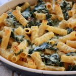 Gluten-Free Baked Mac & Cheese with Chicken Sausage and Kale