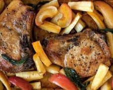 Gluten-Free Roasted Pork Chops with Apples, Fennel and Parsnip