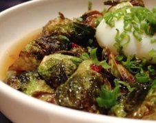 Gluten-Free Brussels Sprouts in Dashi Broth with Poached Eggs