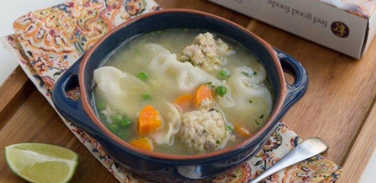RECIPE: Chicken Meatball Soup with Potstickers